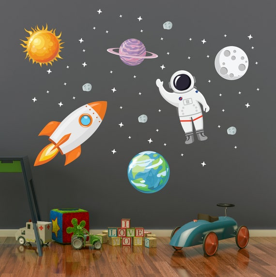 Astronaut Vinyl Wall Decal Sticker Boys Room Nursery Solar System Stars NASA