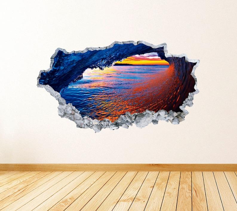 Wave Smashed 3D Wall Decal Art Ocean Wave Wall Decor Vinyl Wall Sticker