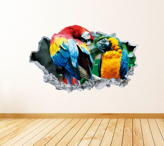 Macaws Smashed 3D Wall Decal Tropical Animal Vinyl Decor Sticker