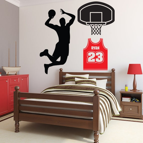 personalized name wall decal basketball wall art decal | etsy
