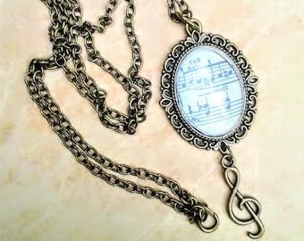Bronze necklace, victorian cameo,  art necklace, gothic cameo, music cameo, sol note, bronze cameo, art cameo, 1900s, collar victoriano