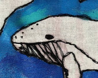 """Zoological Board """"Cetacea"""" hand embroidery"""