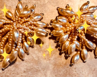 Costume vintage champagne colored beads, clip on earrings