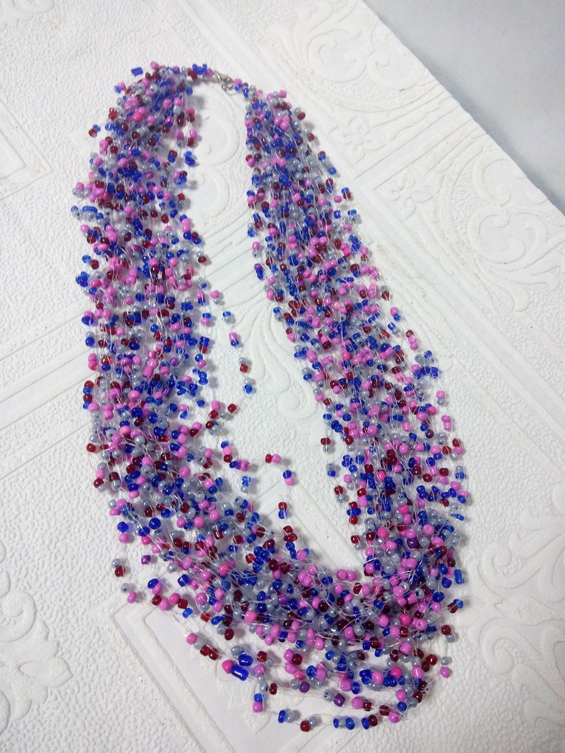 Boho beads airy knitted necklace for hippie festival and beach party Trend summer 2019