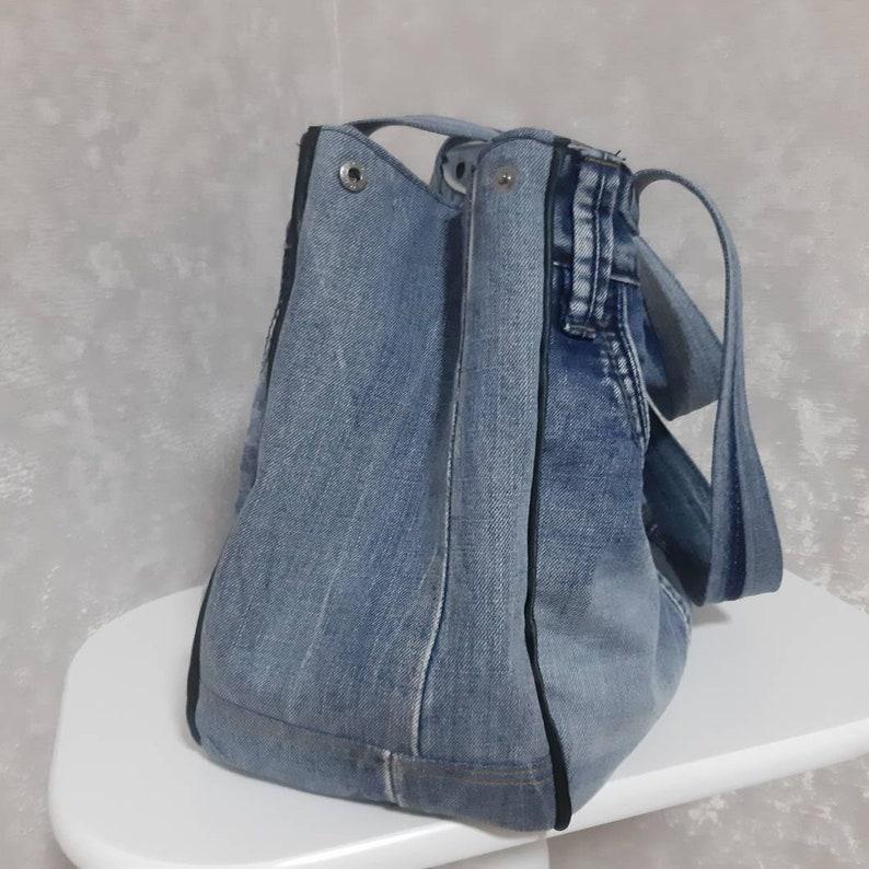 Casual market bag of shabby jeans Overnight denim tote Extra large hobo denim bag