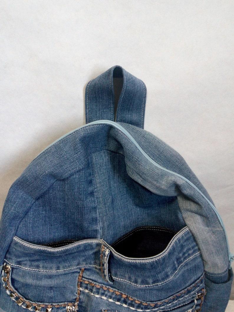 Hipster denim backpack for college