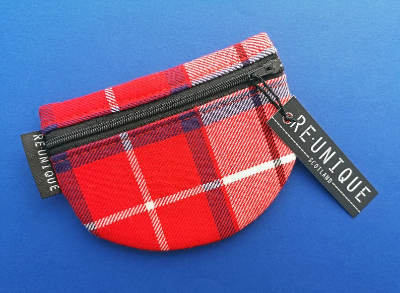 Utility Purse Unisex coin pouch Scottish birthday gift Money storage Tartan gifts for her. Tartan Half Moon pouch Utility zipper