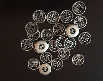 12 silver finish metal squared patterned buttons