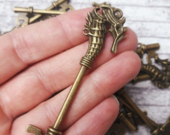 Keys Antique Silver Skeleton Key Replica for Crafts Seahorse Pendant  Mythical Atlantis Beach Jewelry Can Hold ss14 Rhinestones