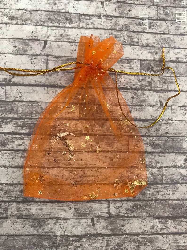 Cute Baby Shower Party Bags, Wedding Favor Gift Bags 12 x 9cm Orange Star and Moon Organza Bags Gold Drawstring Jewelry Pouches