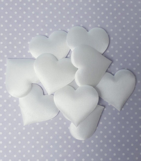 2cm Wide 25 x Pink Padded Fabric Hearts Cute Valentines Craft Embellishments