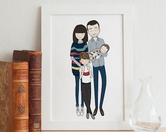 mothers day gift, mothers day personlized, custom family portrait, personlized wedding gift, anniversary gifts, gift for women, gift for men
