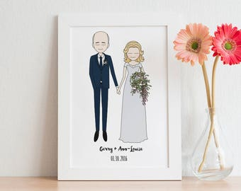 Custom wedding illustration, custom wedding portrait, custom couple portrait, wedding invitations, wedding gift, Engagement Gift