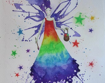 Rainbow Fairy Original Painting