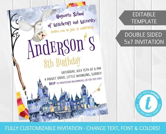 Harry Potter Birthday Invitation Editable Custom Hogwarts Etsy