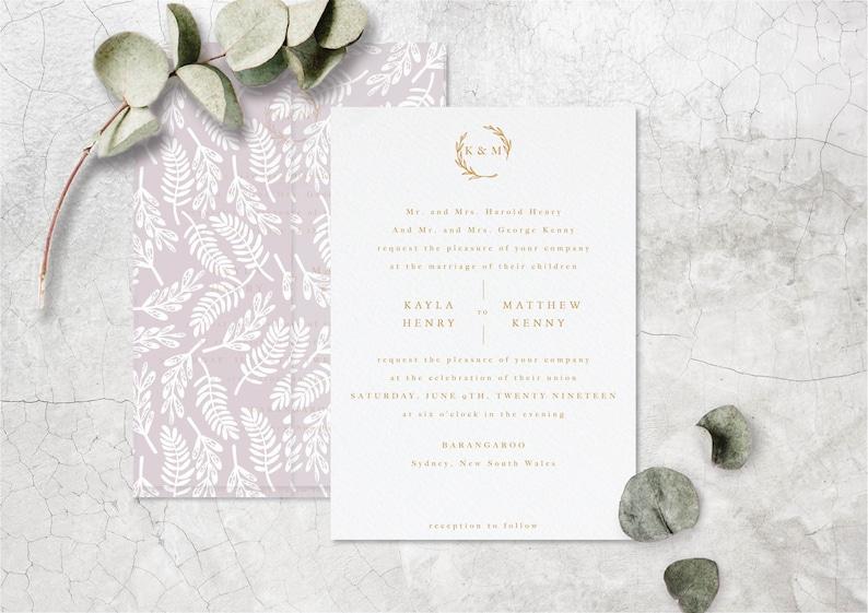 Classic Wedding Invitation Design with Modern Calligraphy Printable Invite Elegant Initial Logo Modern Minimalist Letterpress Design