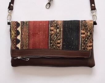 Hippie Clutch Bag-027 Handbag Vintage Kilim Rug Genuine Leather Bohemian Bag Boho Bag Hippie Bag