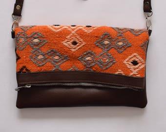 Kilim Bag-028 Bohemian Bag Rug Carpet Leather Foldover Clutch Southwestern bag purse Boho Bag Hippie Ethnic Tribal Authentic bag
