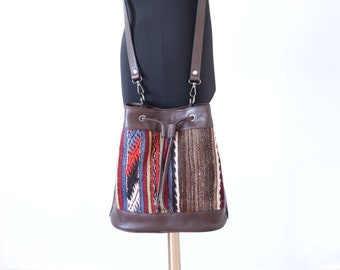 a4158788f778 Bohemian hippie brown blue red backpack ethnic mochila bucket bag Kilim  back bag hippie bag boho southwestern bag kilim drawstring bag sale