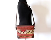Boho bag Kilim bag red yellow southwestern leather cross body bag bohemian hippie ethnic tribal aztec bag purse boho chick sale