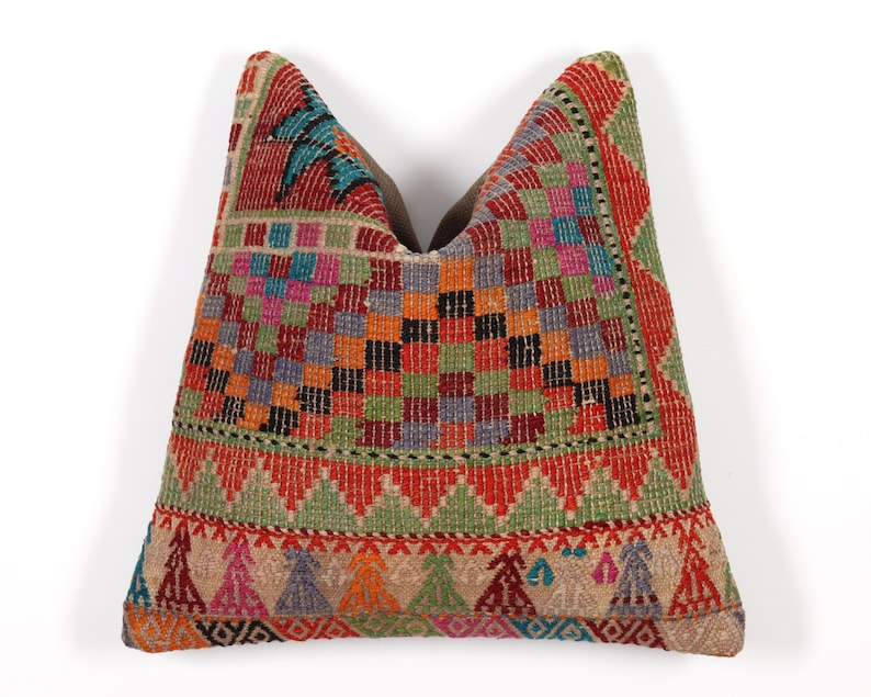 Kilim pillow cover 16x16 boho 40x40 accent turkish moroccan persian red blue green ethnic anatolian sofa bench couch seat cushion case cover
