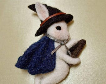 Felted fairy tale witch rabbit pin.bunny.pin.leather.satin ribbon.wool.glass eye.10 cm.gift.for child.needle felted.handmade.broom.witch hat