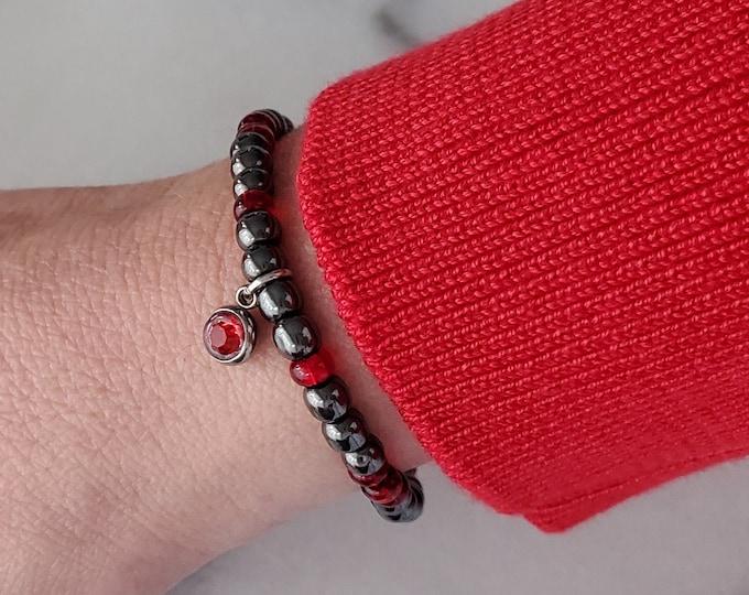 Hematite bracelet, Red charm bead, Grey beads, Round charm, Stretch, Beaded bracelet, Minimalist bracelet, Bracelet for women, Gift for her