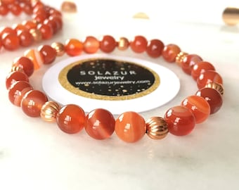 Carnelian stone beads and Copper Bracelet
