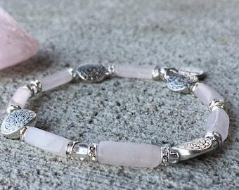 Paloma - Rose Quartz stone beads bracelet