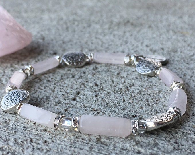 Rose Quartz Womens Bracelet, Beaded Stretch, Unique Original Solazur Design, Wedding Jewelry Beautiful Modern Artistic, Flower bead