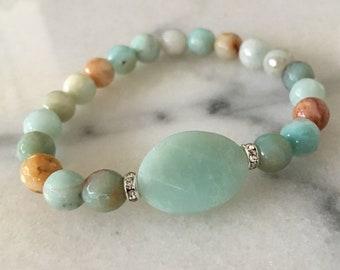 Amazonite and Rose Quartz bracelets (sold as each)