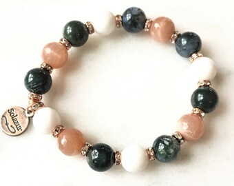Moonstone and Moss Agate stone beads bracelet (Bohema collection)