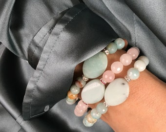 Amazonite and Rose Quartz bracelets (sold as each)