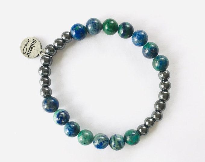 Lapis Lazuli with Chrysocolla and dark grey Hematite stone beads bracelet (Ambero collection)