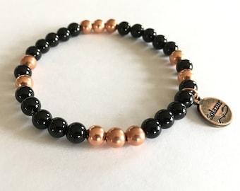 Black Obsidian and Copper beads bracelet
