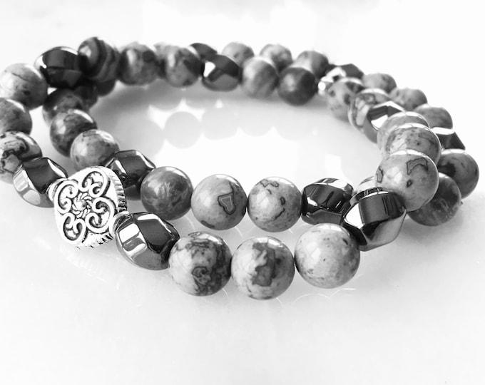 Hematite and Jasper bracelet  - Duo Grey (set of 2)