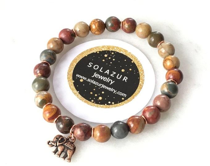 Jasper Unisex Bracelet Beaded Stretch Elegant Modern Original Solazur Design Men's Women's Healing Gemstones Jewelry