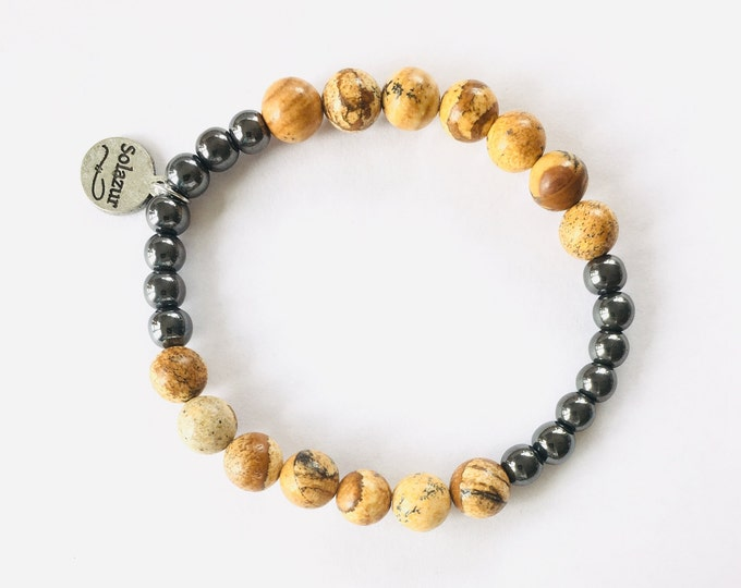 Picture Jasper and grey Hematite stone beads bracelet (Ambero collection)