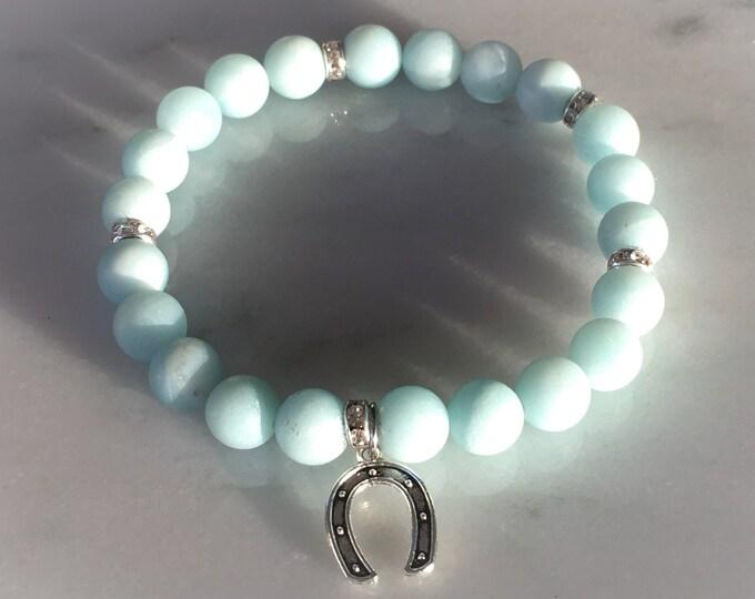 Frosted Amazonite bracelet with horseshoe good luck charm