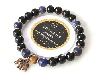 Black Agate, Tiger's Eye and Sodalite bracelet with elephant charm