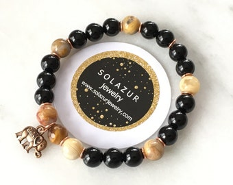 Black Agate and Tiger's Eye stone beads bracelet with elephant charm