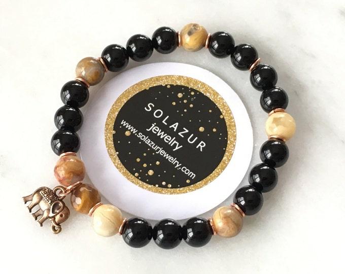 Black Agate Tiger's Eye Unisex Bracelet Beaded Stretch Elegant Modern Original Solazur Design Men's Women's Healing Gemstones Jewelry