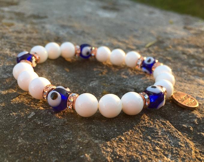 Evil-Eye Bracelet, Mens, Womens Protective Eye, Healing Gemstones, Unisex Beaded Stretch, Stylish Solazur Design, Blue, Rose Gold Jewelry