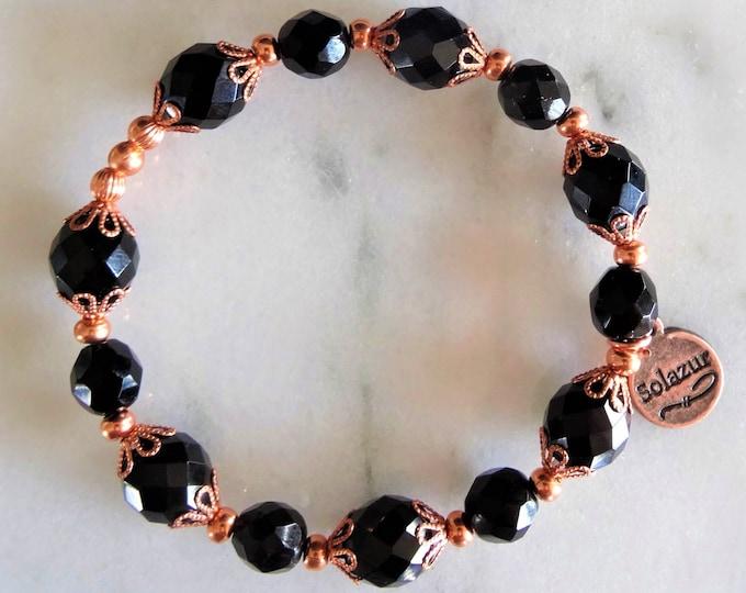 Black Czech Glass Copper Women's Bracelet Beaded Stretch Unique Original Elegant Design Solazur Jewelry Beautiful Modern Artistic
