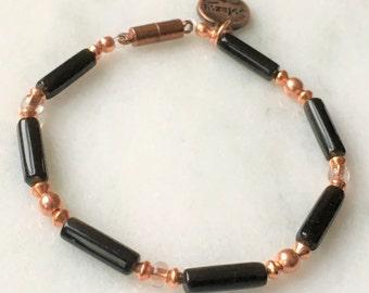 Black Obsidian and Copper bracelet