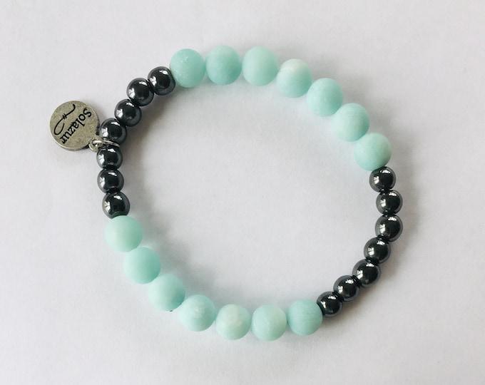Frosted Amazonite and Grey Hematite stone beads bracelet (Ambero collection)