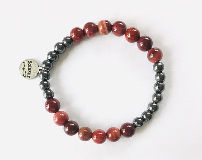 Red Mookaite and grey Hematite stone beads bracelet (Ambero collection)
