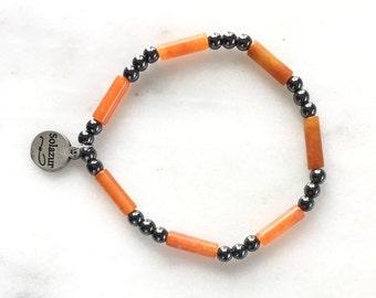 Aventurine and grey Hematite stone beads bracelet