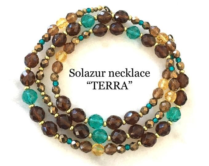 Women's Necklace Beaded Bohemian Glass Brass Brown Aqua Colorful Elegant Unique Original Design Solazur Jewelry Beautiful Modern Artistic