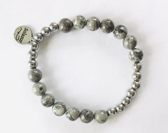 Grey Jasper and silver Hematite stone beads bracelet (Ambero collection)
